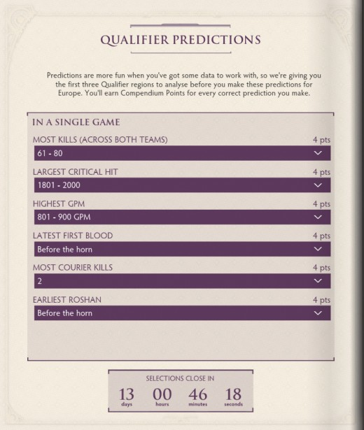 The Compendium contains a range of features seen the past such as team predictions, event predictions and more.