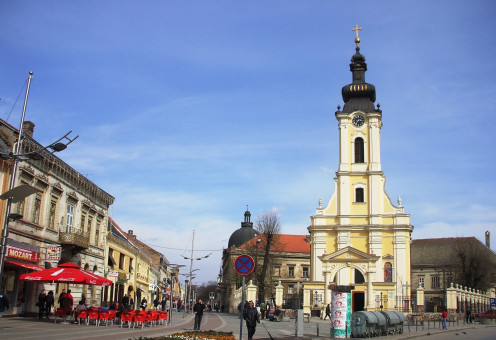 Sremska Mitrovica - Historic part of town with New orthodox church.