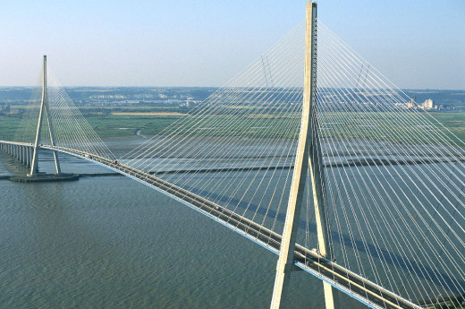 Normandie bridge has the longest cable-stayed section in Europe and the 3rd in the world.