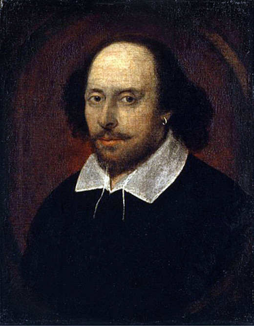 The famous Chandos Portrait of William Shakespeare, ca. 1616.