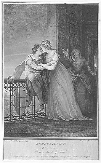 """Engraving by James Stow (c. 1770–1820) after painting by John Francis Rigaud (1742–1810), """"Act III, Scene 5: Romeo takes leave of Juliet,"""" ca. 1797."""