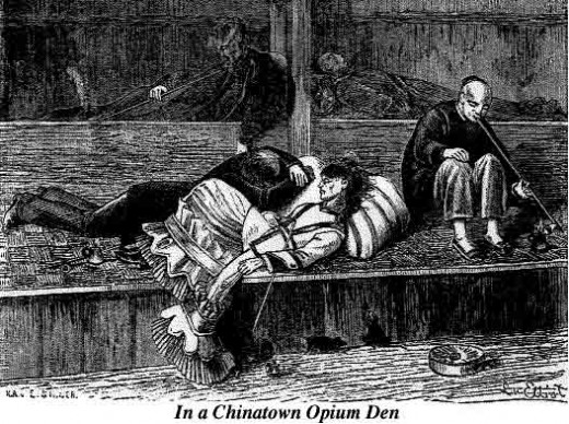 One opium den in San Francisco, USA, in late nineteenth centhury.