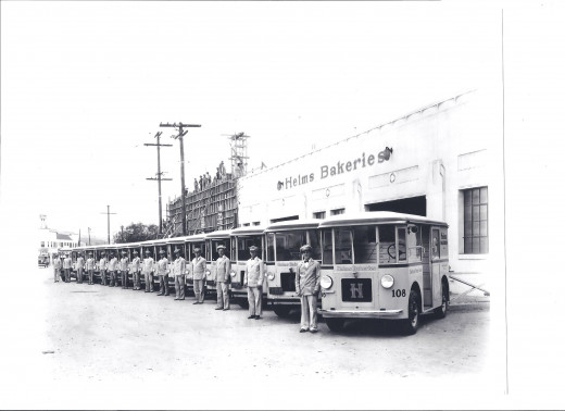 Historical photo of the Helms Bakeries Vehicles and Helms drivers.