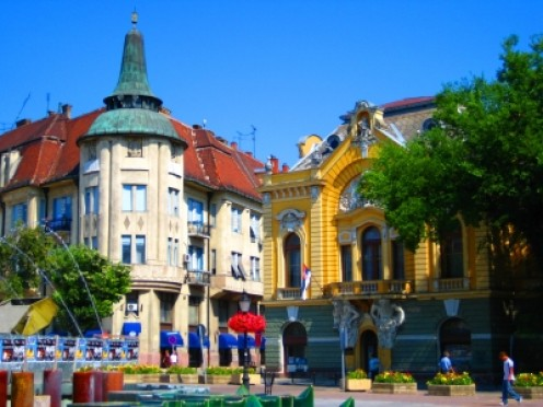 Subotica's main square - a view of the library and a sweet-house.