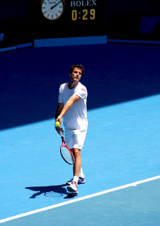 Tommy Haas serving at the Australian Open in Melbourne 2012.  The  German-American professional tennis player is considered by many to be the best player to have never have won a Grand Slam tournament, mainly due to his history of injuries.