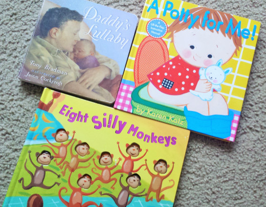 "These are some of my daughter's favorite books.  She has had ""Daddy's Lullaby"" since she was a baby.  It's a sweet story of a dad coming home and finding baby is awake.  He puts her back to sleep with a walk through the house and a lullaby."