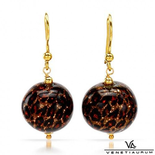 beautiful black, copper and gold Venetiaurum earrings - designer Murano glass