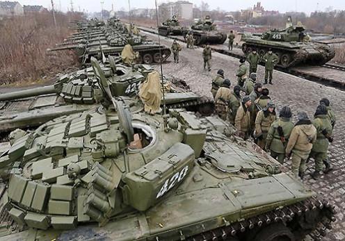 Russian troops on Ukrainian border.