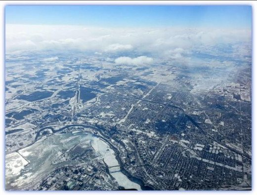 The frozen Niagara Falls at 35 thousand feet is stunning!
