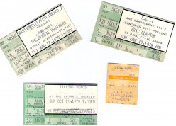 Rock Concert Ticket Stubs -1970s 1980s 1990s 2000s: Clapton, Springsteen, Prince, U2, Stevie Ray Vaughan