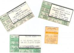 Rock Concert Ticket Stubs -1970s 1980s 1990s 2000s: Clapton, Springsteen, Prince, U2, Stevie Ray Vaughan