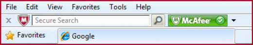 The SiteAdvisor Toolbar with Secure Search Box