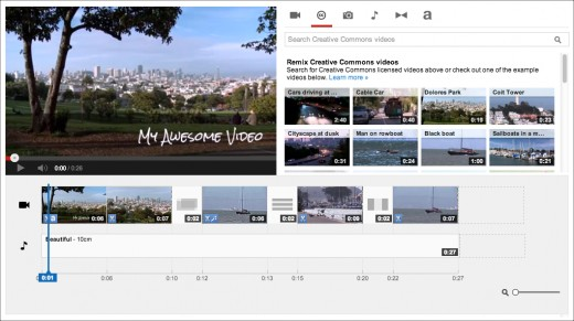 Screenshot of the YouTube Video Editor