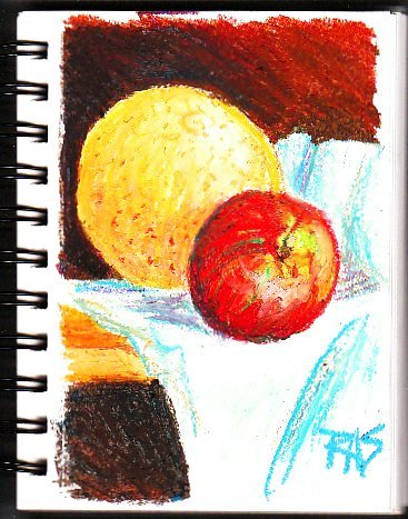 """This small still life is memorable mostly because I did it entirely from memory and imagination. """"Grapefruit and Apple"""" by Robert A. Sloan.."""