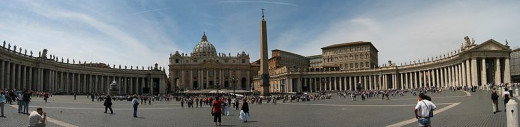 Panorama of St Peter's Square in Vatican City.