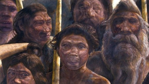 A crowd of hominins from Sima de los Huesos. Artist unknown.