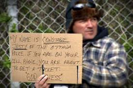 Undercover Cop - Handing out speeding tickets dressed as a homeless man.
