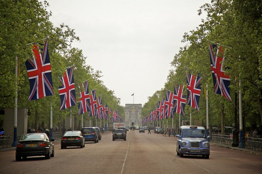 The Mall, London. Leading up to Buckingham Palace