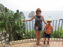 At the top of Giardini d'Auguste, looking out over the spectacular Faraglioni Rocks