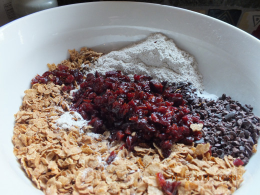 All the dry ingredients go in one big bowl!