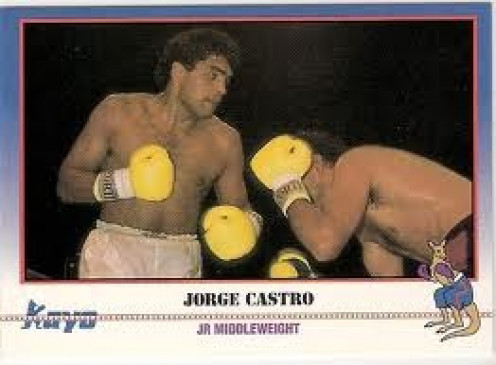 Jorge Castro is seen here on the first edition of Kayo Boxing Cards. He ws limited in some areas but his heart and chin were as good as it gets in the sport.