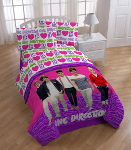 One Direction is used to sell lots of kinds of merchandise including bed sheets