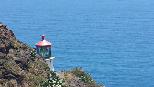 On the way back down the trail I turned to take this last picture of the light house and the water.
