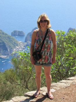 At the top of Mount Solaro with the Faraglioni Rocks in the background - you won't get higher than this on Capri!