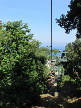 My son and his dad on the chairlift to Mount Solaro - it is a relaxing and peaceful ride.