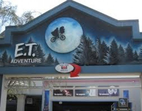 E.T. has the guests strapped into flying bicycles with E.T. himself close by.