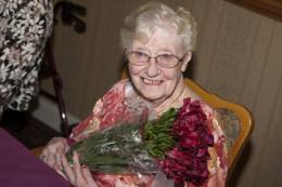 Senior Mom Enjoying Her Mothers Day Boquet