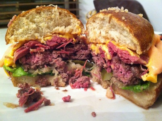 In the photo we have a delicious Reuben Burger. It is so very delicious.