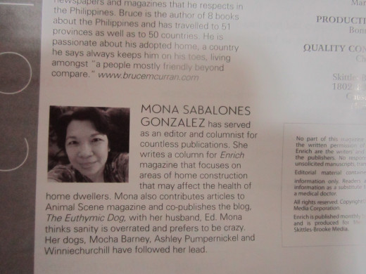 My bio is featured in the writers' page. Happily, my name is spelled correctly this time.