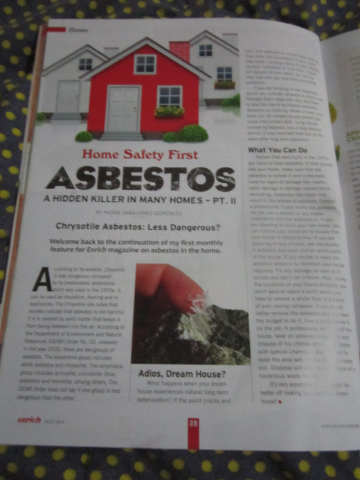 "Part 2 of my column, ""Home Safety First"" on asbestos."