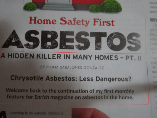 "My byline, part 2 of my column, ""Home Safety First"" about asbestos"