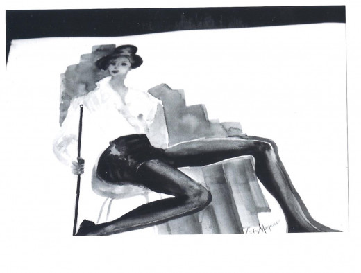 Painting of Victoria Moore, modeling as a tap dancer, by artist Libby Magnus.