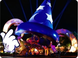 Giant replica of Mickey's Fantasia Sorcerer's Cap serves as the architectural centerpiece for Disney's Hollywood Studios.