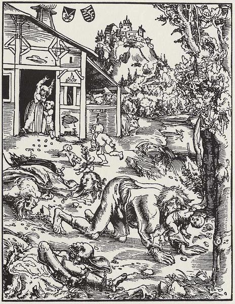 Woodcutting of a werewolf attack, Lucas Cranach the Elder, c. 1512.