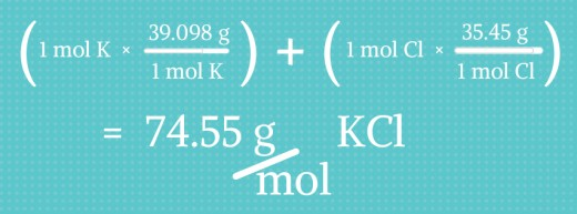 How to calculate how many grams are in a mole of KCl.