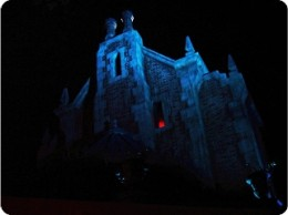 Spooky facade for the home of the classic Haunted Mansion attraction and its 999 haunts.