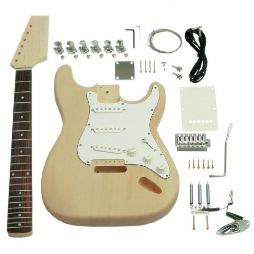 It's easy to build your own electric guitar from a kit like this one from Saga.