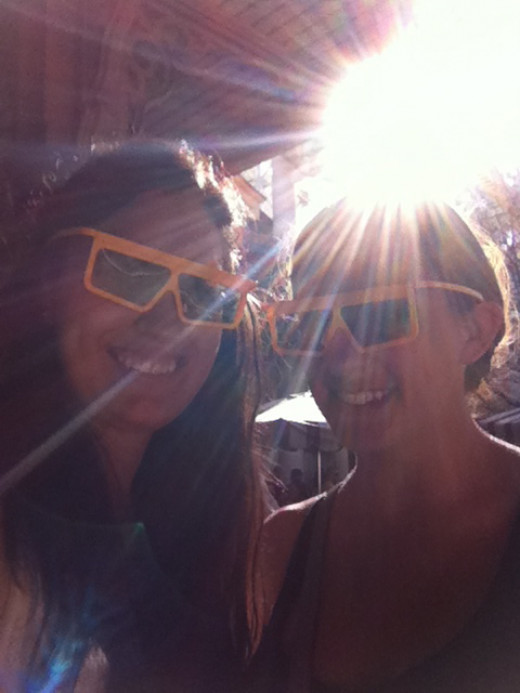 Here is my friend Danielle and me standing in line for Toy Story Mania!