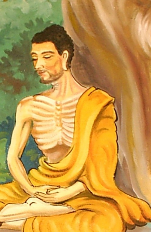 A nearly starved Siddhartha meditating