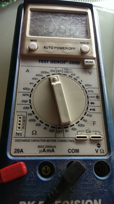 Multimeter selected to measure up to a 20 amp current.