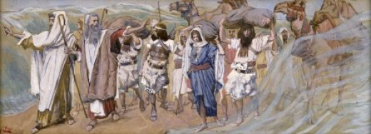 "A painting by Tissot of ""The Waters are Divided,"" depicting Moses leading the way across the sea. This is the kind of extraordinary, cause-and-effect miracle this article is about."