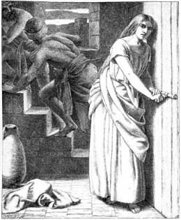 """""""Rahab Receiveth and Concealeth the Spies"""" by Frederick Richard Pickersgill"""