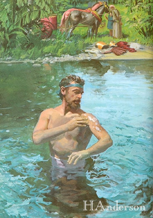 Naaman in the Jordan River.  Photo by Harry Anderson