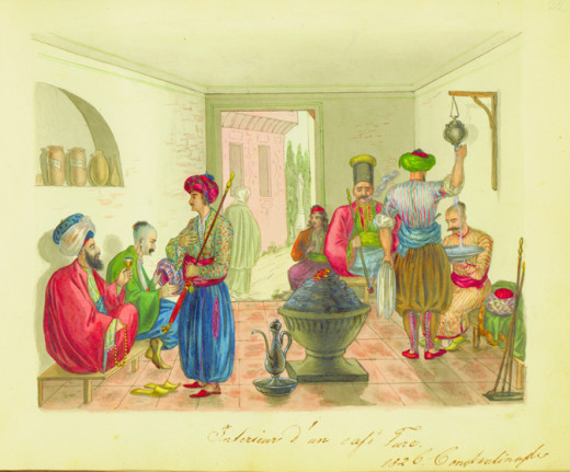 Coffee-house in Istanbul in 1826.
