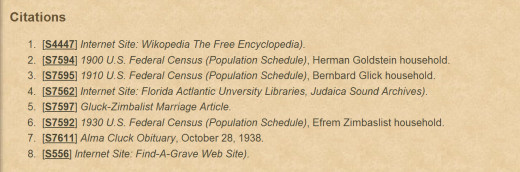6a. -These are the websites they reference as their sources.  This is how information being told often enough becomes FACT whether it is true or not. Notice findagrave.com