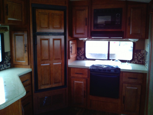 Kitchens in fifth wheels are full-sized for making delicious, healthy treats as a pampered chef on the go.